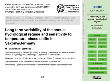 Long Term Variability of the Annual Hydr... by Renner, M.