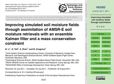 Improving Simulated Soil Moisture Fields... by Li, B.