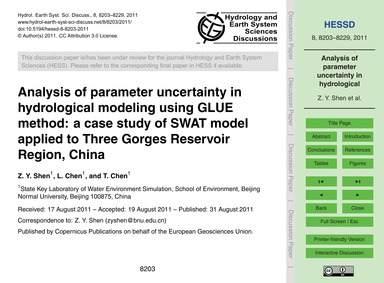 Analysis of Parameter Uncertainty in Hyd... by Shen, Z. Y.