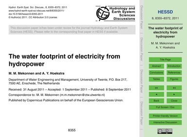 The Water Footprint of Electricity from ... by Mekonnen, M. M.