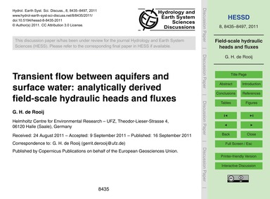 Transient Flow Between Aquifers and Surf... by De Rooij, G. H.