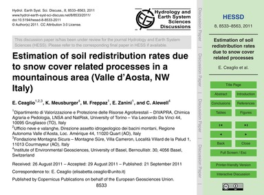 Estimation of Soil Redistribution Rates ... by Ceaglio, E.