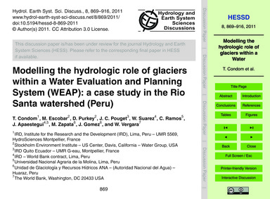 Modelling the Hydrologic Role of Glacier... by Condom, T.