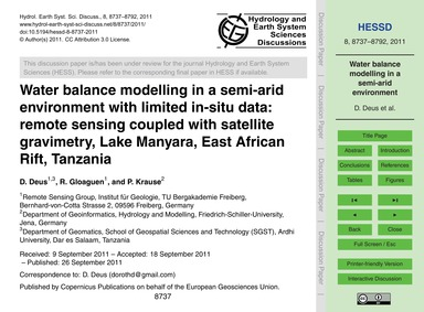 Water Balance Modelling in a Semi-arid E... by Deus, D.