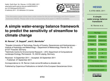 A Simple Water-energy Balance Framework ... by Renner, M.