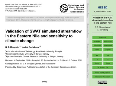 Validation of Swat Simulated Streamflow ... by Mengistu, D. T.