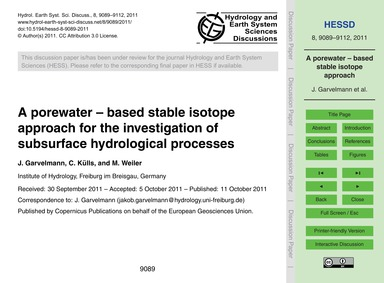 A Porewater – Based Stable Isotope Appro... by Garvelmann, J.