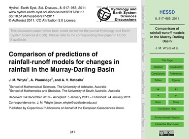 Comparison of Predictions of Rainfall-ru... by Whyte, J. M.