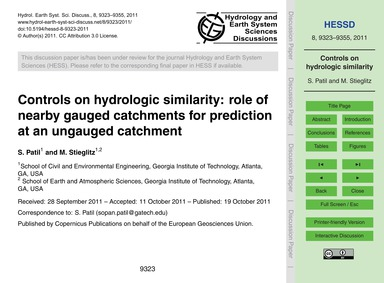 Controls on Hydrologic Similarity: Role ... by Patil, S.