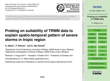 Probing on Suitability of Trmm Data to E... by Akbari, A.