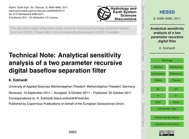 Technical Note: Analytical Sensitivity A... by Eckhardt, K.