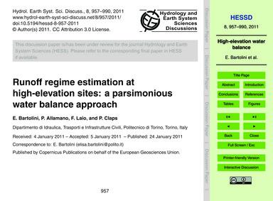 Runoff Regime Estimation at High-elevati... by Bartolini, E.