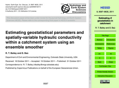 Estimating Geostatistical Parameters and... by Bailey, R. T.