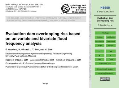 Evaluation Dam Overtopping Risk Based on... by Goodarzi, E.