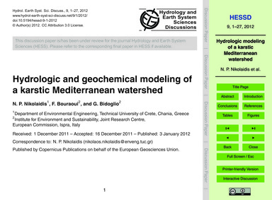 Hydrologic and Geochemical Modeling of a... by Nikolaidis, N. P.
