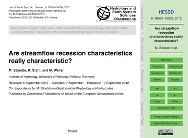 Are Streamflow Recession Characteristics... by Stoelzle, M.