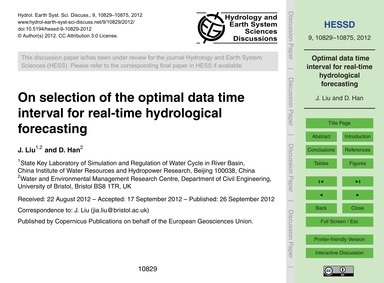 On Selection of the Optimal Data Time In... by Liu, J.