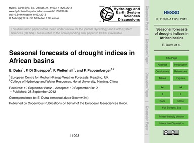 Seasonal Forecasts of Drought Indices in... by Dutra, E.