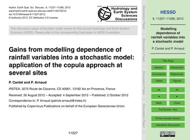 Gains from Modelling Dependence of Rainf... by Cantet, P.