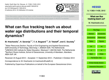 What Can Flux Tracking Teach US About Wa... by Hrachowitz, M.