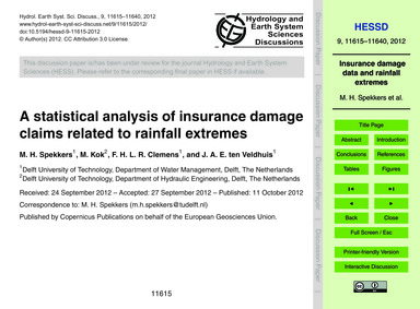 A Statistical Analysis of Insurance Dama... by Spekkers, M. H.