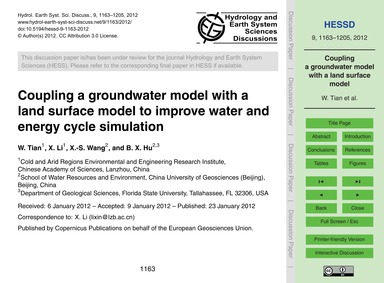 Coupling a Groundwater Model with a Land... by Tian, W.