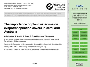 The Importance of Plant Water Use on Eva... by Schneider, A.