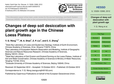 Changes of Deep Soil Desiccation with Pl... by Wang, Y. Q.