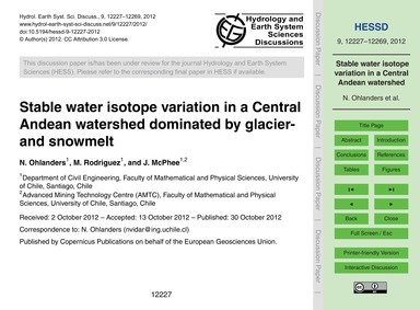 Stable Water Isotope Variation in a Cent... by Ohlanders, N.