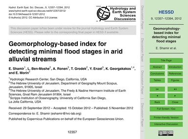 Geomorphology-based Index for Detecting ... by Shamir, E.