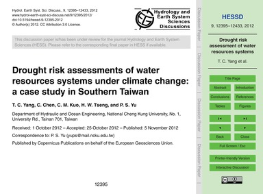 Drought Risk Assessments of Water Resour... by Yang, T. C.