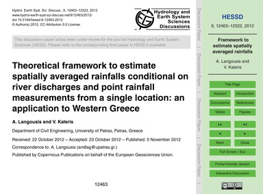 Theoretical Framework to Estimate Spatia... by Langousis, A.