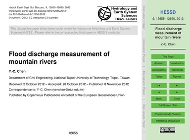 Flood Discharge Measurement of Mountain ... by Chen, Y.-c.