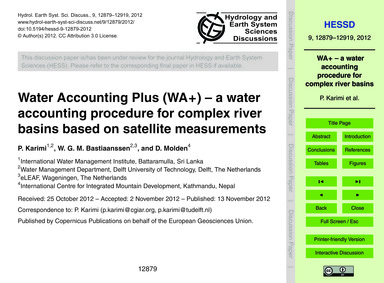 Water Accounting Plus (Wa+) – a Water Ac... by Karimi, P.