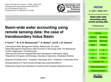 Basin-wide Water Accounting Using Remote... by Karimi, P.