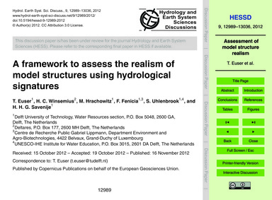 A Framework to Assess the Realism of Mod... by Euser, T.