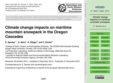 Climate Change Impacts on Maritime Mount... by Sproles, E.