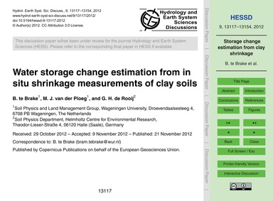 Water Storage Change Estimation from in ... by Te Brake, B.