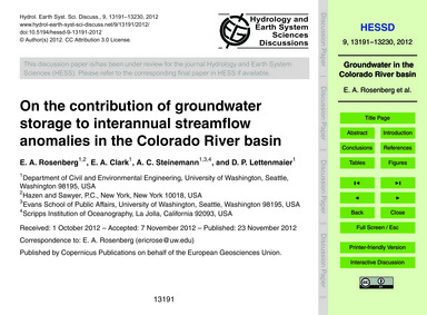 On the Contribution of Groundwater Stora... by Rosenberg, E. A.