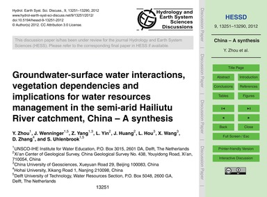 Groundwater-surface Water Interactions, ... by Zhou, Y.