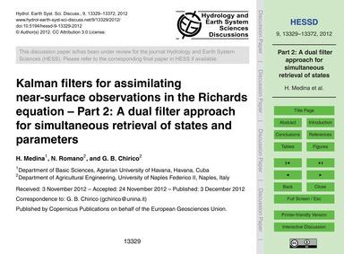 Kalman Filters for Assimilating Near-sur... by Medina, H.