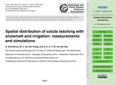 Spatial Distribution of Solute Leaching ... by Schotanus, D.
