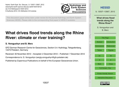 What Drives Flood Trends Along the Rhine... by Vorogushyn, S.