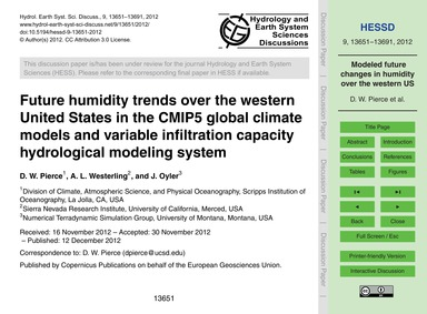 Future Humidity Trends Over the Western ... by Pierce, D. W.