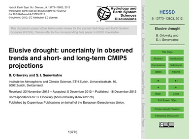Elusive Drought: Uncertainty in Observed... by Orlowsky, B.