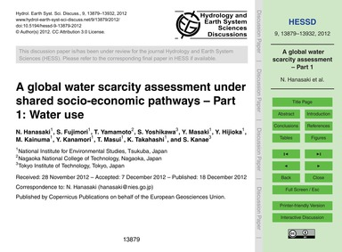 A Global Water Scarcity Assessment Under... by Hanasaki, N.