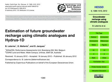 Estimation of Future Groundwater Recharg... by Leterme, B.