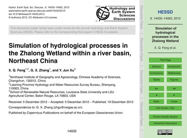 Simulation of Hydrological Processes in ... by Feng, X. Q.