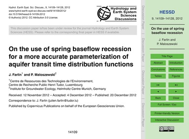 On the Use of Spring Baseflow Recession ... by Farlin, J.