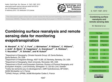 Combining Surface Reanalysis and Remote ... by Marshall, M.
